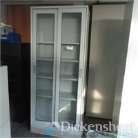"""Glass Two Door Storage Cabinet, approximate 36"""" X"""