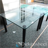 """Glass Table, black metal base, approximate 42"""" X"""