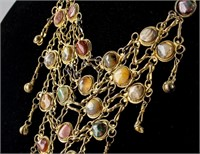 Antique Gold Colored Multi-Stone Necklace