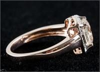 Sterling Silver Square Cut Morganite Ring