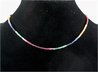27.0ct Ruby, Emerald & Sapphire Necklace CRV $1300