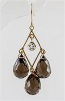 12ct Quartz & 0.30ct Sapphire Earrings RV $600