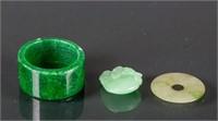 Burma Green Jadeite Pendants and Ring 3 Assorted