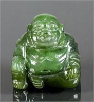 Chinese Green Jade Carved Happy Buddha Statue