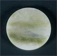 Burma Green Jadeite Carved Round Pendant