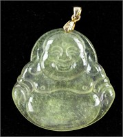 Burma Icy Green Jadeite Happy Buddha Pendant