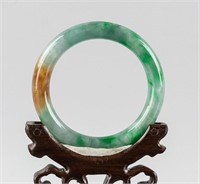 Burma Mixed Green and Brown Jadeite Carved Bangle