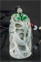 18/19th C. Burma Green Jadeite Carved Deer Toggle