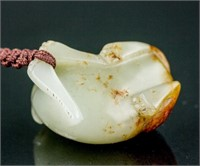 Chinese Russet Skin White Jade Carved Dog Toggle
