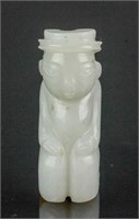 Chinese Hetian White Jade Carved Man Toggle
