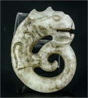 Chinese Old White Jade Carved Dragon Pendant