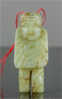 Chinese Green Jade Carved Figure Toggle