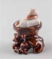 Chinese Agate Carved Snail and Beetle Statue