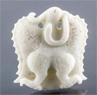 Chinese White Hardstone Carved Phoenix Pendant