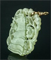 Chinese Celadon Hardstone Carved Pendant