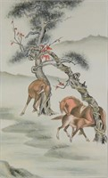 Chinese Watercolor Horse on Paper Scroll