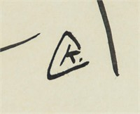 Russian Suprematist Ink on Paper Signed VK