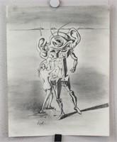 Spanish Surrealist Charcoal Signed Dali