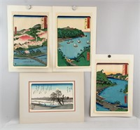 Japanese Woodblock Print Landscape 4 Assorted