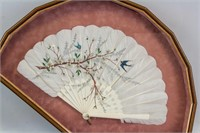 Chinese Watercolor Bird and Flower on Feather Fan