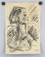 Bulgarian Cubist Ink Paper Signed Pascin