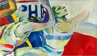 French Cubist Gouache on Paper Signed R. Delaunay