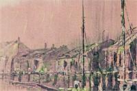 Gordon Lee Oil on Canvas Harbor Scene