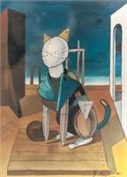 Italian Surrealist Gouache Signed G de Chirico