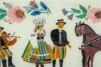 Guatemalan Cubist Gouache Signed Carlos Merida