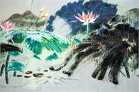 Huang Yongyu b.1924 Chinese Oil on Canvas Lotus