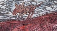 French Art Brut Informel School Oil Paper Signed
