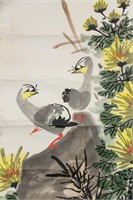 Meng Zhaoming b.1945 Chinese Watercolor Paper Roll