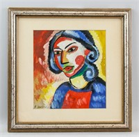 Russian Abstract Gouache Paper Signed A. Jawlensky
