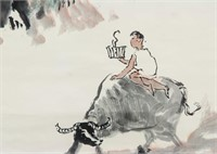 Li Keran Chinese 1907-1989 Watercolor Cowboy