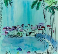 French Fauvist Cubist WC Signed Raoul Dufy