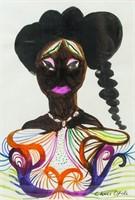British Modern Watercolor Signed Chris Olfili