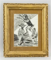 Spanish Romanticist Ink on Paper Signed Goya