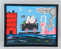 US Abstract Oil on Canvas Signed Philip Guston