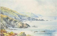 British Watercolor Cove on Paper Signed W.S.C