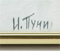 Russian Suprematist Gouache Signed Puni