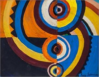 French-Ukrainian Abstract Oil Sign Sonia Delaunay