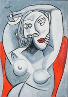 Spanish Cubist Oil on Panel Signed Picasso