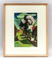 German Expressionist Gouache Signed M Pechstein
