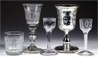 Selection of early blown, cut, and engraved drinking vessels.