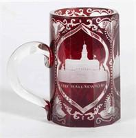 Rare Americo-Bohemian engraved mug with views of New York including Broadway, City Hall, and a Suspension Bridge.