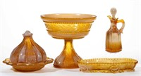 Selection of Greentown and chocolate glass from the Durst collection.