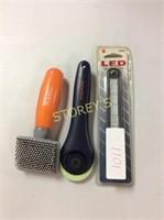 3 pc - LED Light, Pet Brush & Fiskars