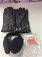 2 pc Leather Gloves w/ Touch Screen Capability &