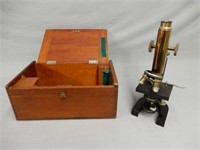 1895 GUNDLACH MEDICAL MICROSCOPE / WOODEN CASE