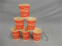 GROUPING OF 6 1950'S COCA-COLA PAPER CUPS + GLASS